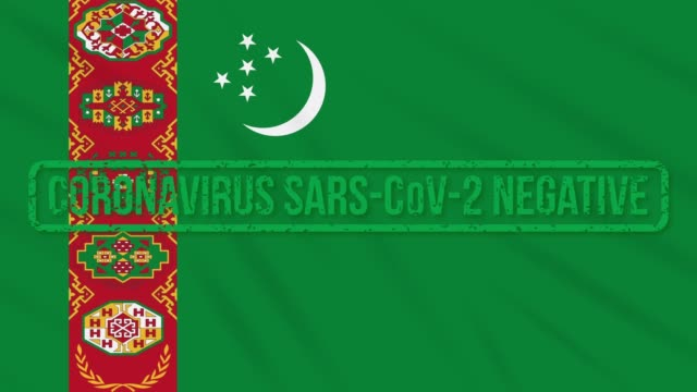 Turkmenistan swaying flag with green stamp of freedom from coronavirus, loop Turkmenistan swaying flag with green grunge stamp of freedom from coronavirus, loop turkmenistan stock videos & royalty-free footage