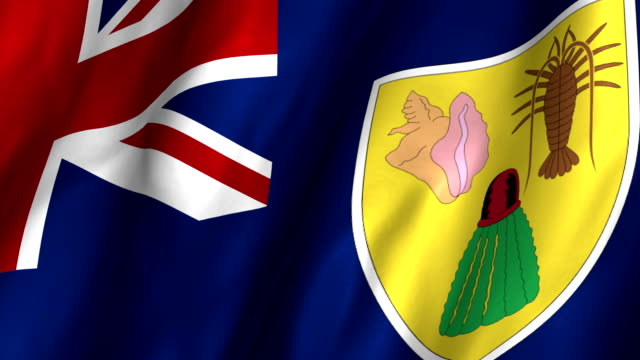 Turks & Caicos Islands Waving Flag 4K A beautiful satin finish looping flag animation of Turks & Caicos Islands.    A fully digital rendering using the official flag design in a waving, full frame composition.  The animation loops at 10 seconds. turks and caicos islands stock videos & royalty-free footage