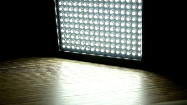 Turn on of led light panel in the dark video