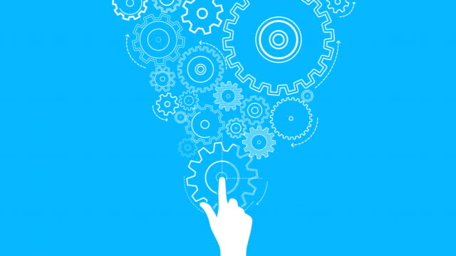 Turning gears on blue background