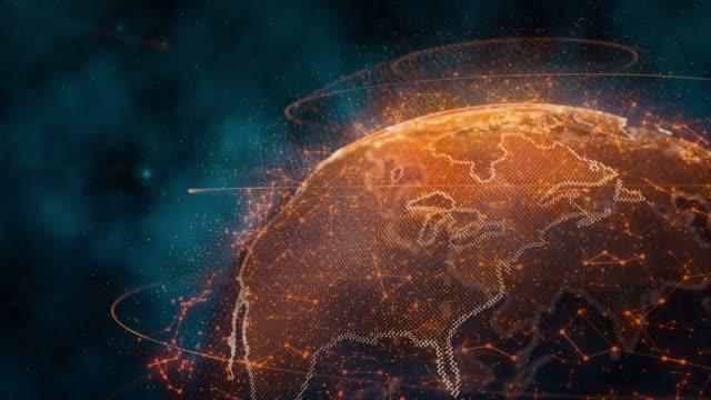 接続ポイントでホログラフィックグローブを回す - 地球のビデオ点の映像素材/bロール