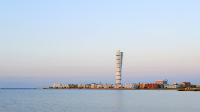 turning torso western harbour malmo sweden - post modern architecture stock videos & royalty-free footage