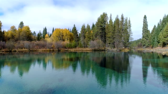 Turquoise colored lake in the wilderness video