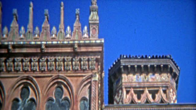 CASABLANCA, MOROCCO 1972: Tuscan style villa architecture style closeups. video