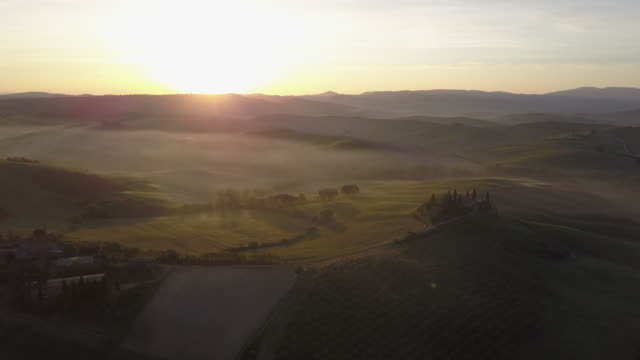 Tuscany landscape at sunrise with low fog video