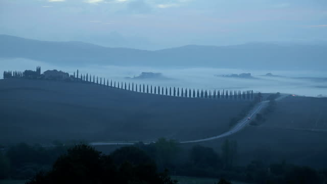 Tuscany landscape countryside in the morning video