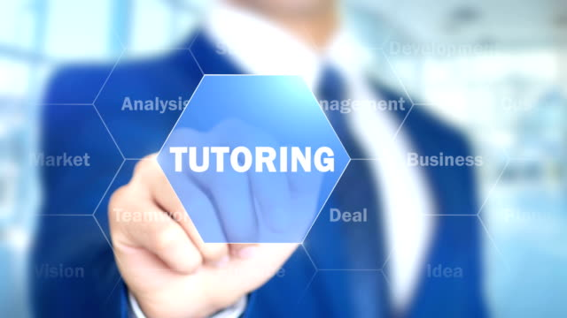 Tutoring, Businessman Using Augmented Holographic Interface