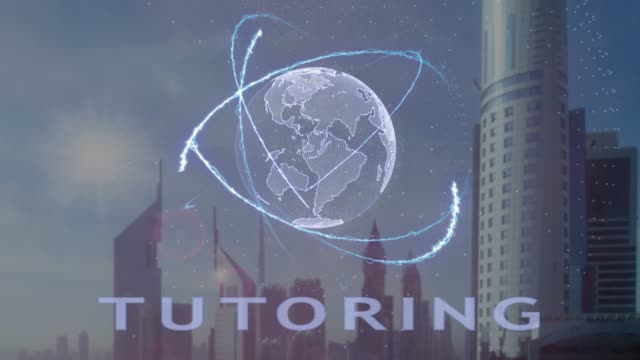 Tutoring text with 3d hologram of the planet Earth against the backdrop of the modern metropolis