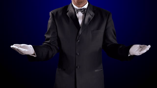 Tuxedo Man White Cotton Gloves, Hands Reveal Open, Black Background video
