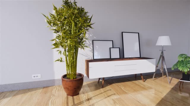 Tv cabinet in modern empty room Japanese style,minimal designs. 3D rendering