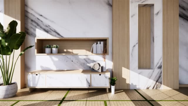 Tv on wooden cabinet in modern empty room and white wall on white floor room tropical style. 3d rendering