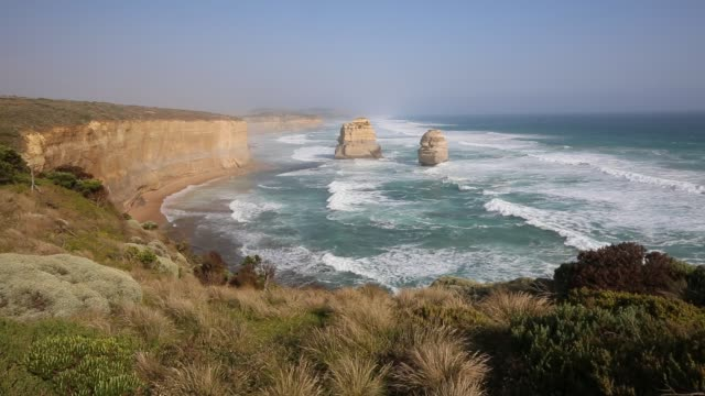Twelve Apostles at sunset Campbell National Park, Victoria cliffs stock videos & royalty-free footage