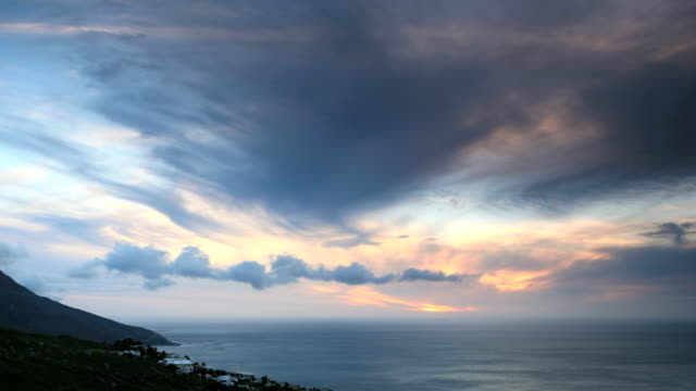Twelve Apostles Time Lapse Time lapse clip of dusk along the Twelve Apostles range of the Table Mountain National Park in Cape Town, South Africa.  table mountain national park stock videos & royalty-free footage