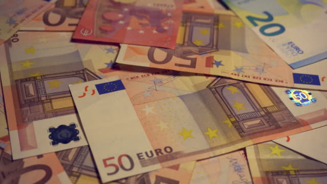 Twenty and Fifty Euro banknotes video