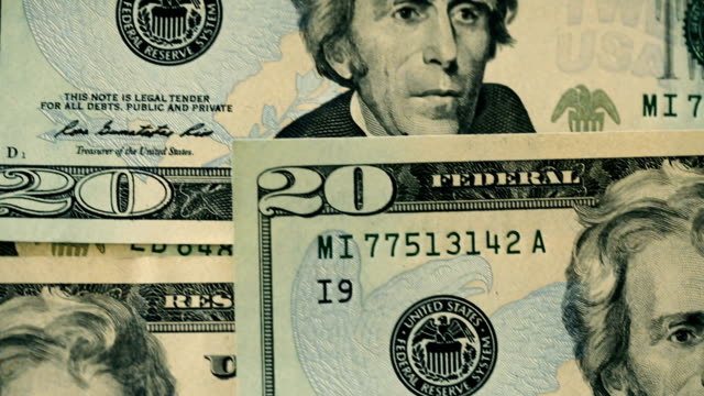 U.S twenty dollar bills close-up details video
