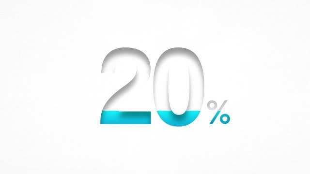 Twenty  Percent Design (20%) - Blue number on Watercolor Paper video