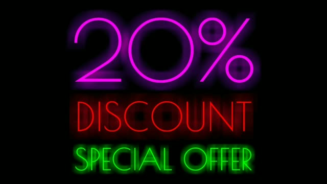 Twenty Percent Discount Neon Sign on Black Background, Special Offer Neon in purple and red color ,Sale Up to 20% Off, Special Offer advertising for store or bar Twenty Percent Discount Neon Sign on Black Background, Special Offer Neon in purple and red color ,Sale Up to 20% Off, Special Offer advertising for store or bar double refraction stock videos & royalty-free footage
