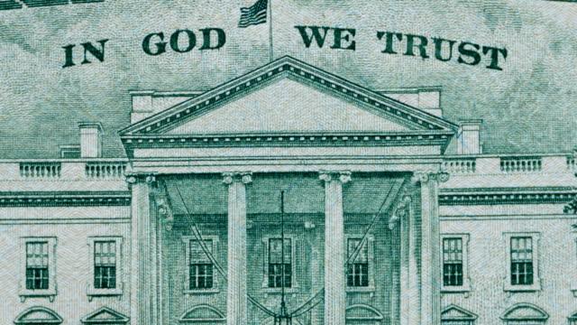 Twenty U.S. dollar bill banknote close-up details