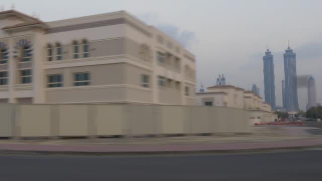 twilight dubai city al wasl road trip downtown  4k united arab emirates video
