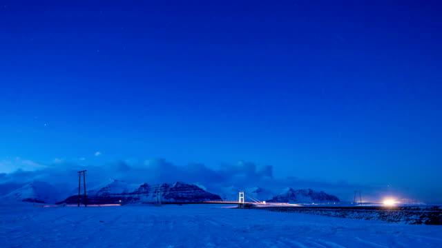 twilight in island - eisklettern stock-videos und b-roll-filmmaterial