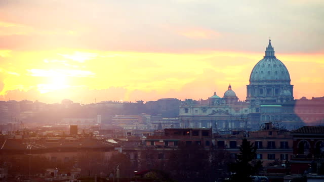 Twilight in Rome over St. Peter's Basilica video