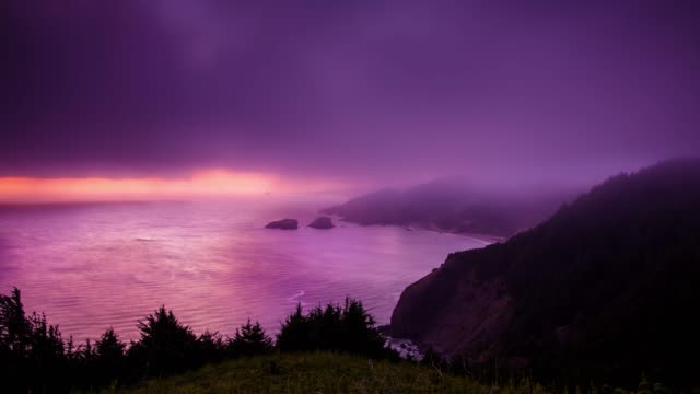 twilight on the oregon coast - time lapse - rock formations stock videos & royalty-free footage