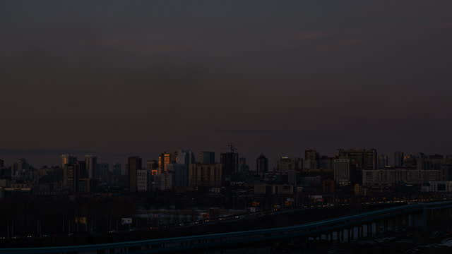 Twilight over the city of Novosibirsk video
