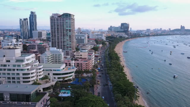 twilight Skyline of Pattaya from aerial view, Pattaya city, Chonburi, Thailand. twilight Skyline of Pattaya from aerial view, Pattaya city, Chonburi, Thailand. pattaya stock videos & royalty-free footage