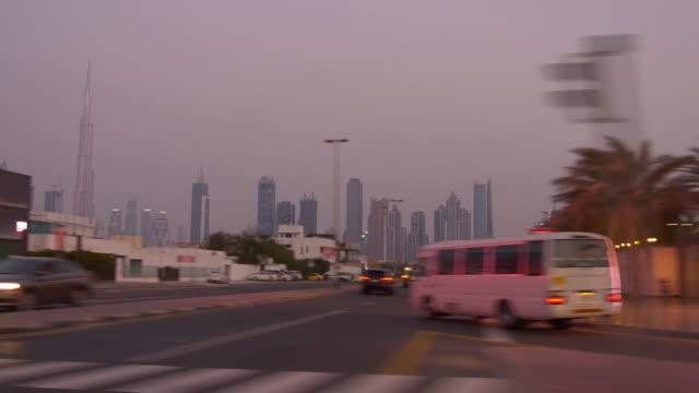 twilight time al wasl road trip dubai passenger side downtown  4k united arab emirates video