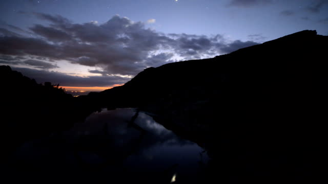 Twilight timelapse of clouds moving over mountain top and stream video