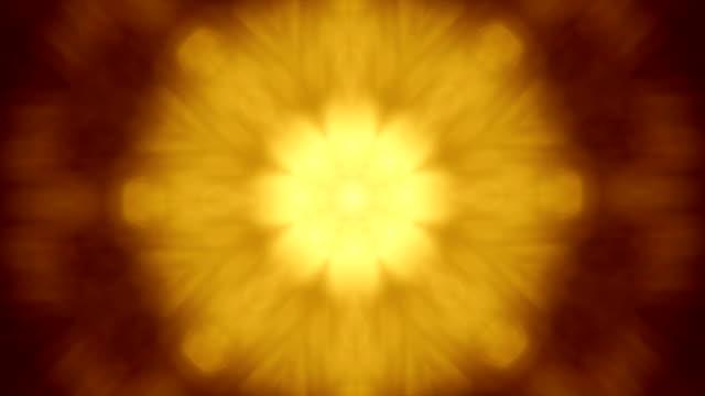 twinkle koło kaleidoscopic wzór w złote barwy. - happy holidays filmów i materiałów b-roll