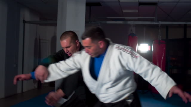 Two aikido masters training
