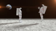 istock Two Astronauts Playing Soccer On The Moon Surface 496870972
