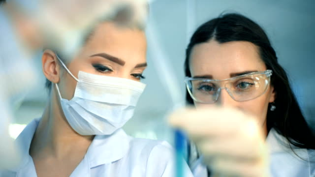 Two attractive female scientists studying test tube in laboratory video