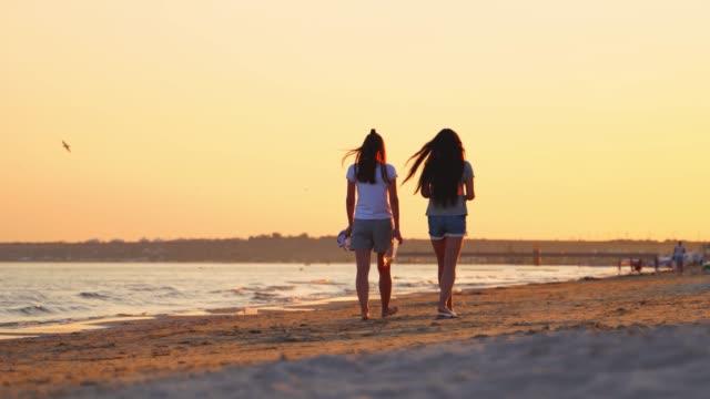 due belle ragazze che camminano lungo la spiaggia al tramonto. - dorso umano video stock e b–roll