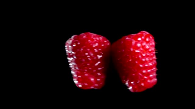 vídeos de stock e filmes b-roll de two berries of raspberry are hitting each other - framboesa