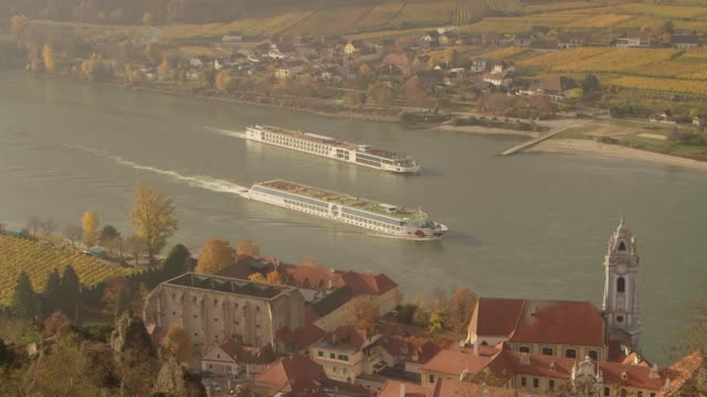 Two boats on Danube River - Durnstein Austria