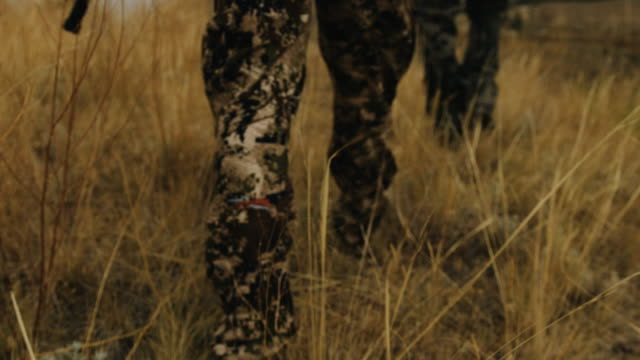 two bow hunters walk through grass carrying a compound bow, they stop at the top of a large ravine to overlook their hunting ground. the shallow depth of field and slow motion give the shot a feeling of intensity as he walks in full camouflage. - hunting stock videos and b-roll footage
