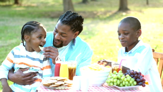 Two boys and father eating potato chips at cookout Two African-American boys and their father at a back yard cookout eating potato chips. The younger one, 3 years old, is sitting on daddy's lap. His brother is 8 years old. potato chip stock videos & royalty-free footage