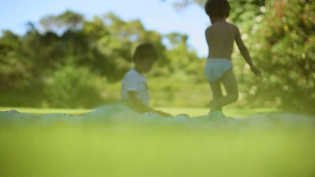 два мальчики на открытом воздухе в meadows/два брата вместе - vitamin d стоковые видео и кадры b-roll