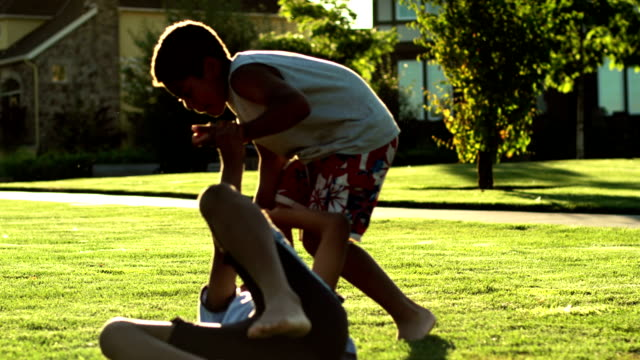 Two brothers wrestling in grass video