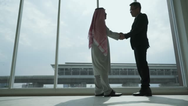 two business partners shaking hands - arabia saudita video stock e b–roll
