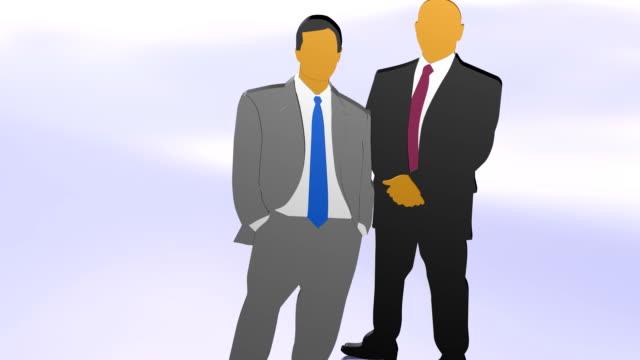 Two business people looking ahead video