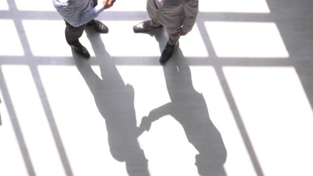 Two businessman shake hand in light and shadow