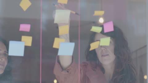 vidéos et rushes de deux femmes d'affaires remue-méninges sur mur de fenêtres sur l'immobilier - brainstorming