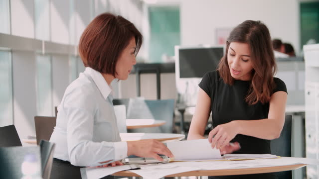 Two businesswomen using tablet at informal office meeting video