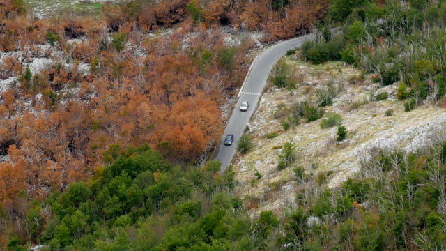 two cars traveling in the mountains, among orange trees video