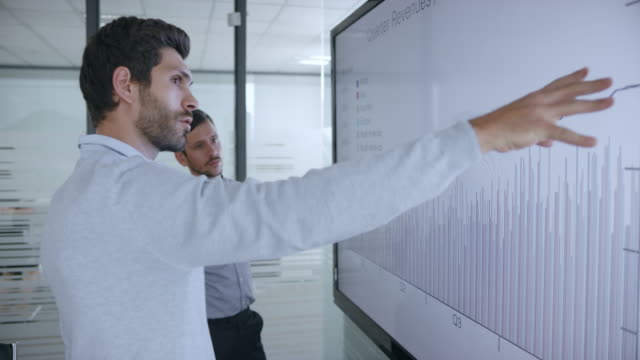 Two Caucasian male colleagues discussing a financial graph shown on large screen in the meeting room