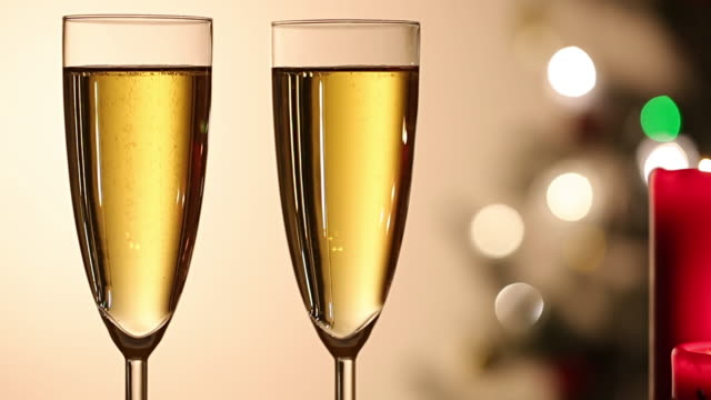 Two champagne glass romantic video