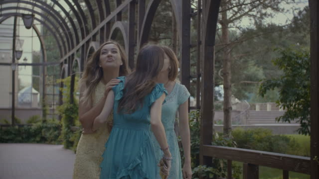 two cheerful women greeting their friend in park - tre persone video stock e b–roll